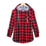 New S-5XL Women Plaid Hooded Button Sweatshirt with Pocket
