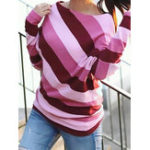 New Women Casual Crew Neck Stripe Long Sleeve Tops Blouse