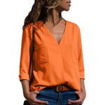 New Casual Women Solid Color V-Neck Long Sleeve Blouse