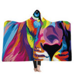 New Hooded Blankets Lion Colorful Printed Warm Wearable Plush Mat Thick Nap Soft Blanke