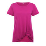 New Women Solid Color Knotted Round Neck Short Sleeve Blouse