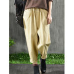 New Women Vintage Elastic Waist Pockets Cotton Pants