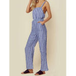 New Casual Women Loose Sleeveless Striped Jumpsuit with Pockets