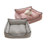 New 2 Colors Stripe Pattern Pet Sofa Bed Mat Dog Cat Sofa Kennel Pet Bed