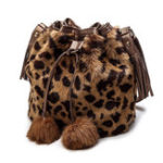 New Women Leopard Print Bucket Bag Faux Leather String Bag