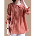 New Women Elegant Solid Color Pleated Long Sleeve Blouse