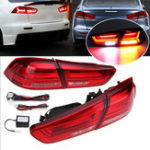 New Pair Rear LED Car Tail Light Assembly Brake Lamps Red for Mitsubishi Lancer/ EVO X 2008-2017