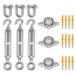 New 21Pcs Sun Shade Sail Accessories for Triangle or Square Shade Sail Replacement Fitting Tools Kit