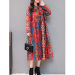 New Folk Style Floral Plate Buckle Vintage Dress