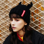 New Women Winter Cute Antler Plus Velvet Thick Earmuffs Knit Hat