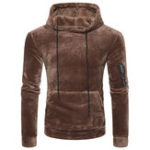 New Mens Coral Fleece Casual Zipper Hoodies Sweatshirts