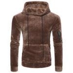 New Mens Coral Fleece Casual Zipper Hoodies Sweatshirts