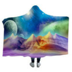 New 3D Hooded Blankets Colorful Planet Warm Winter Wearable Plush Mats Nap Soft Travel Mats