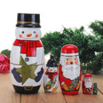 New 5PCS Russian Wooden Nesting Matryoshka Doll Handcraft Decoration Christmas Gifts