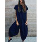New Women Short Sleeve Solid Jumpsuits