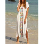 New Plus Size Bohemian V-neck Short Sleeve Side Split Dress