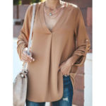 New Women V-neck Adjustable Sleeve Irregular Blouse
