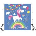 New 5x7FT Cartoon Unicorn Birthday Party Photography Backdrop Studio Prop Background