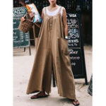 New Women Wide Leg Loose Straps Solid Overalls Jumpsuit
