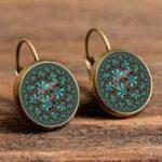New Bohemian Green Flower Earrings