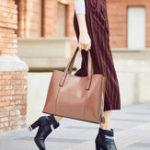 New Women PU Leather Casual Handbag Large Capacity Tote Bag