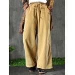 New Corduroy Drawstring Elastic Waist Vintage Pants