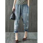 New Vintage Embroidery Elastic Waist Pocket Denim Jeans