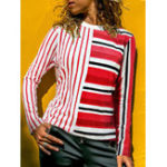 New Casual Women Striped Patchwork Crew Neck Long Sleeve Blouse