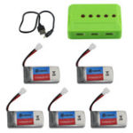 New Eachine E016H RC Quadcopter Spare Parts 5Pcs 3.7V 350mAh Lipo Battery with 5-in-1 Charger USB Cable