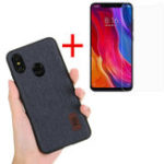 New Bakeey Fabric Splice Protective Case+Tempered Glass Screen Protector For Xiaomi Mi 8 Mi8