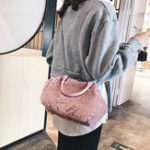 New Women Plush Solid Handbag Chain Crossbody Bag