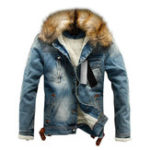 New Mens Winter Fleece Lining Furry Collar Denim Jacket