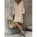 New Women Long Sleeve V Neck Pure Color Dress