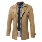 New Mens Casual Cotton Solid Color Business Jackets Trench Coats