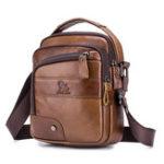New Men Genuine Leather Bag Multi-layer Cowhide Crossbody Bag