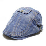 New Mens Personalized Retro Washed Denim Painter Beret Hat