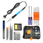 New EU Plug 220V 60W Adjustable Temperature Electric Soldering Iron Kit+5pcs Tips Portable Welding Repair Tool