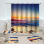 New Waterproof Shower Curtain Non-Slip Rug Three Set  Bathroom Decor Blue Ocean Sunset