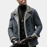 New Mens Faux Shearling Coat Winter Thick Outerwear Suede Jacket