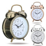 New Classic Silent Retro Silent Double Bell Alarm Clock Quartz Movement Mini Bedside Bedroom Night Light Desk Table Clock Home Decor