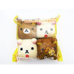 New 4PCS Food Squishy Rilakkuma Tofu 6*6*4CM Cute Bear Jumbo Gift Collection With Packaging