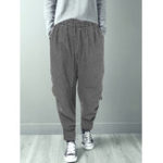 New Women Casual Elastic Waist Plaid Harem Pants