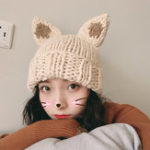 New Female Thickened Hand-Knitted Rabbit Ears Hat Christmas Hat