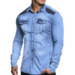 New Mens Denim Suede Splice Contrast Color Chest Pocket Shirts