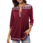 New Women Casual Print V-Neck 3/4 Sleeve Blouse
