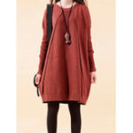 New Women Casual Loose Patchwork Crew Neck Long Sleeve Dress