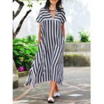 New M-5XL Stripe V-neck Short Sleeve Women Dress