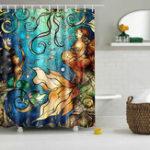 New Waterproof Mermaid Scenery Pattern Fabric Shower Curtain Panel Sheer 180 x 180CM