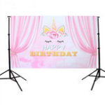 New 5x3FT Pink Curtain Unicorn Birthday Theme Photography Backdrop Studio Prop Background