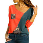 New Casual Women Patchwork Asymmetric Collar Long Sleeve Blouse